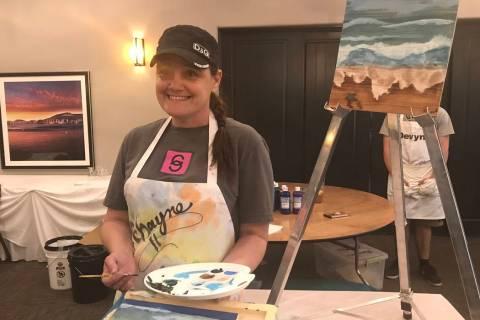 """Jeffrey Meehan/Pahrump Richayne Jenkins, a Pahrump self-taught artist, bought a """"paint and sip"""" ..."""
