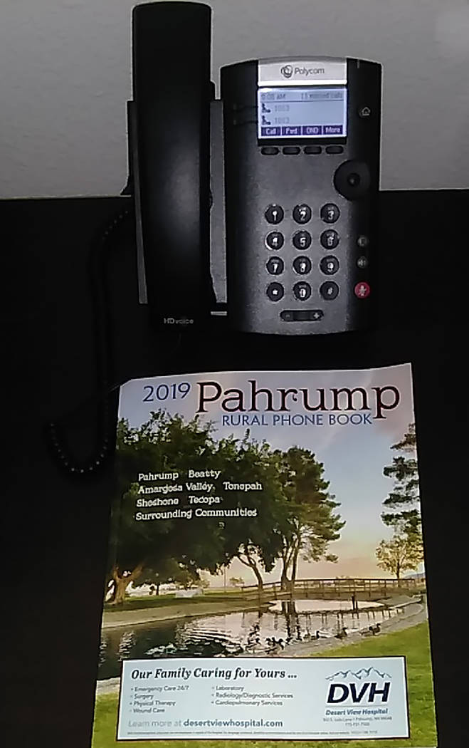 Selwyn Harris/Pahrump Valley Times The cover design and layout of the Pahrump Rural Phone Book ...