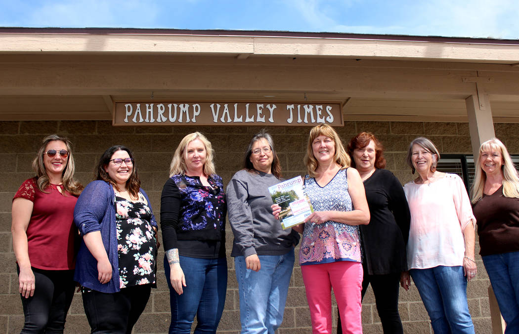 Jeffrey Meehan/Pahrump Valley Times Pahrump Valley Times General Manager Lisa Andresen, front a ...