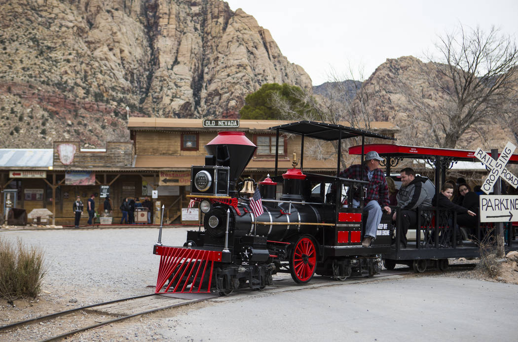 Visitors enjoy a train ride at Bonnie Springs Ranch outside of Las Vegas on Saturday, Jan. 12, ...
