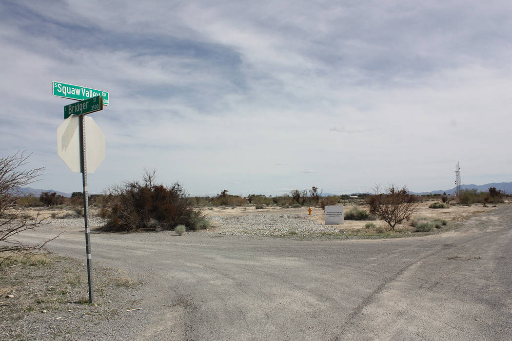 Robin Hebrock/Pahrump Valley Times The intersection of Squaw Valley Road and Bridger Street, wh ...