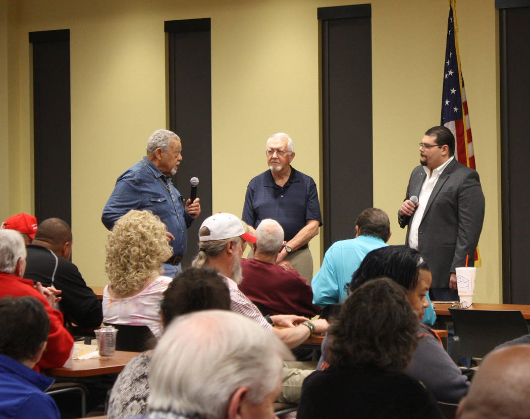 Robin Hebrock/Pahrump Valley Times Questions from the audience were included in the town hall-s ...