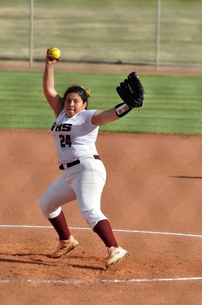Horace Langford Jr./Pahrump Valley Times Natalie Waugh-Magana tossed a 3-hitter as Pahrump Vall ...
