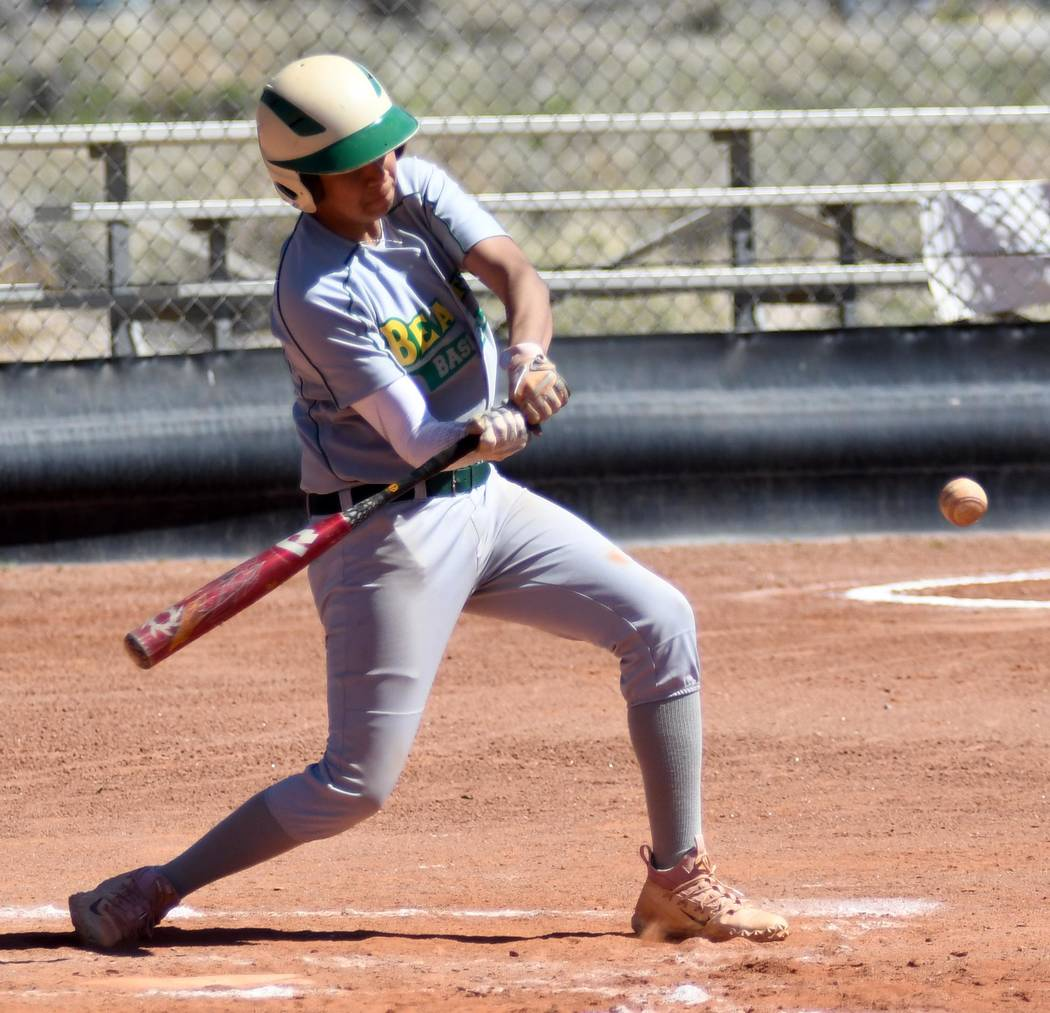 Richard Stephens/Special to the Pahrump Valley Times Junior Austin McKenzie hits against Spring ...