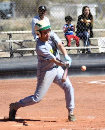 Richard Stephens/Special to the Pahrump Valley Times Beatty senior Geo Maldonado, shown hitting ...