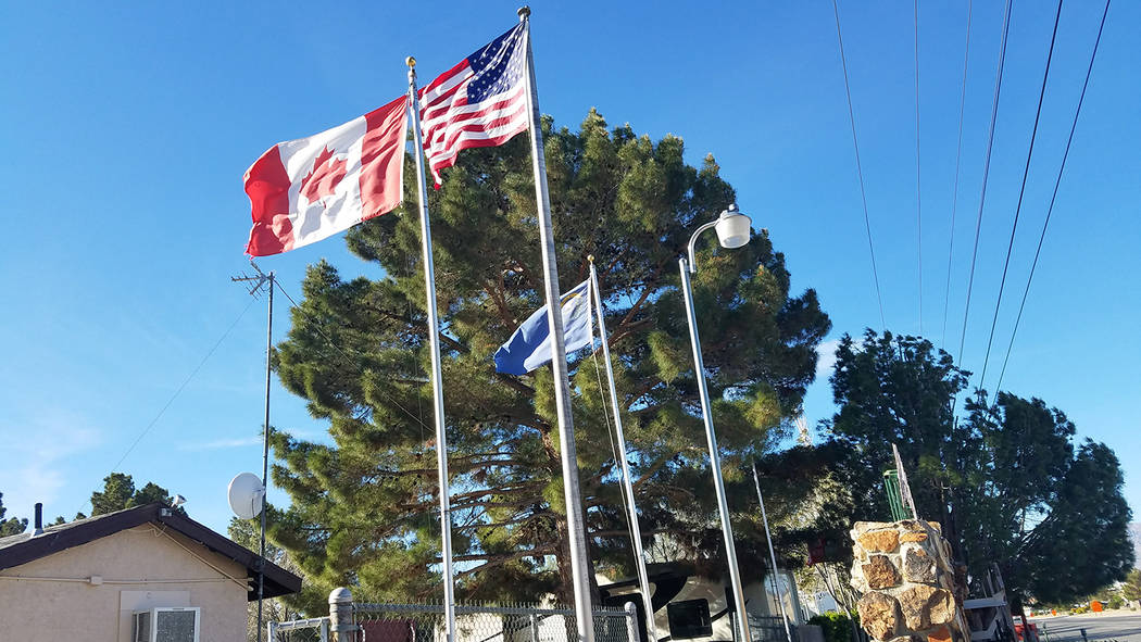 David Jacobs/Pahrump Valley Times The Canadian flag is shown flying in Pahrump in this 2017 pho ...