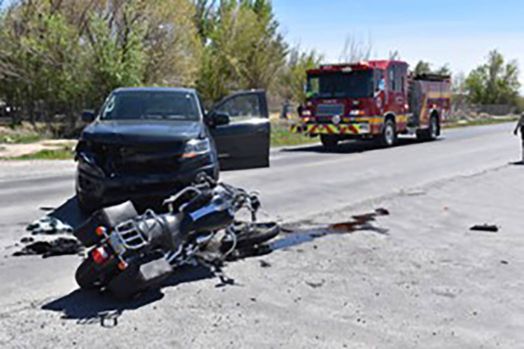 Special to the Pahrump Valley Times A motorcyclist was transported to UMC Trauma in Las Vegas f ...