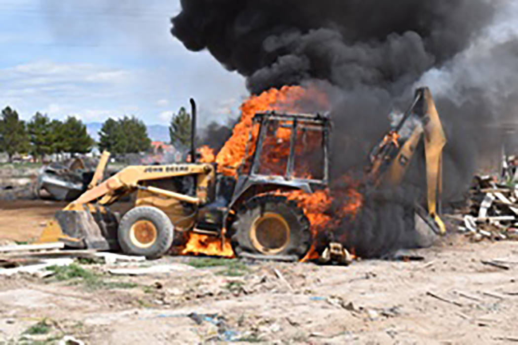 Special to the Pahrump Valley Times No injuries were reported as a result of a backhoe fire as ...