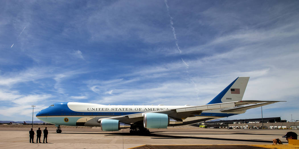 (L.E. Baskow/Las Vegas Review-Journal) @Left_Eye_Images President Donald J. Trump departs from ...