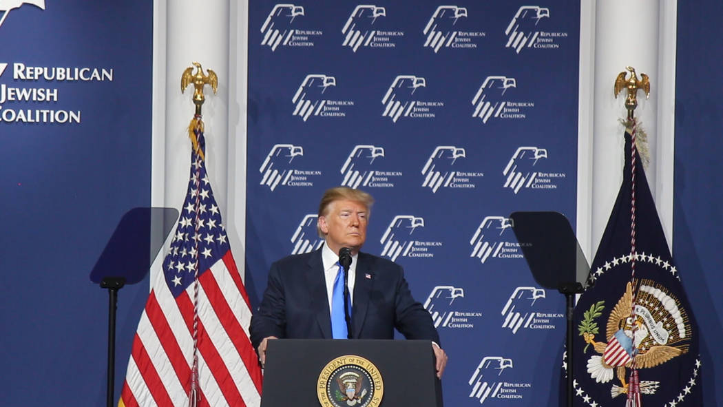 Jeffrey Meehan/Pahrump Valley Times President Donald J. Trump addresses the crowd at the Republ ...