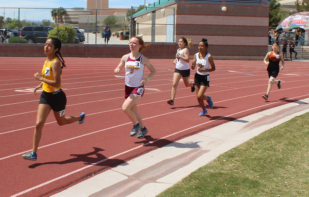 Tom Rysinski/Pahrump Valley Times Sophomore Makayla Gent, second from left, gets off to a stron ...