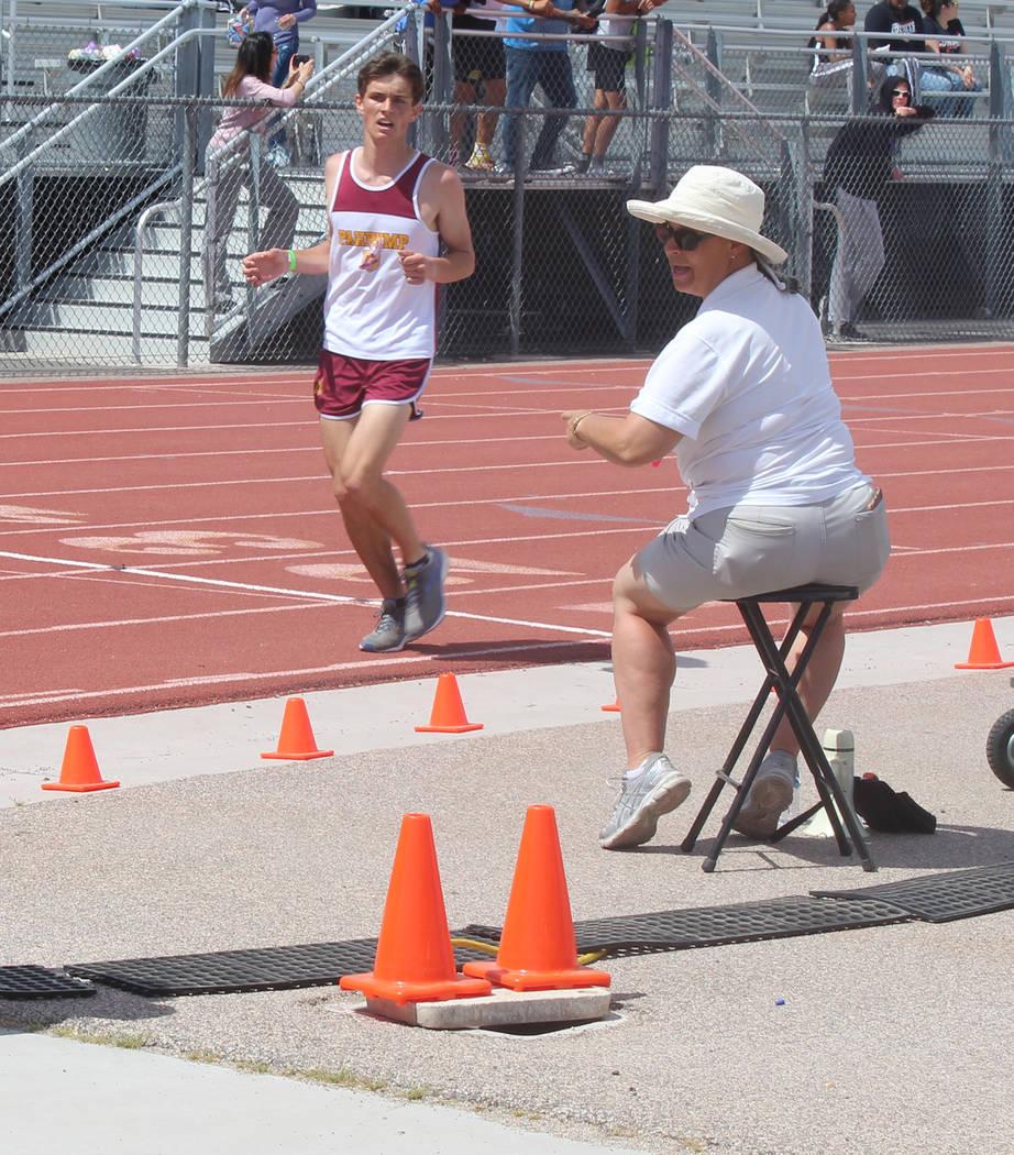 Tom Rysinski/Pahrump Valley Times Pahrump Valley junior Michael Sonerholm crosses the finish li ...