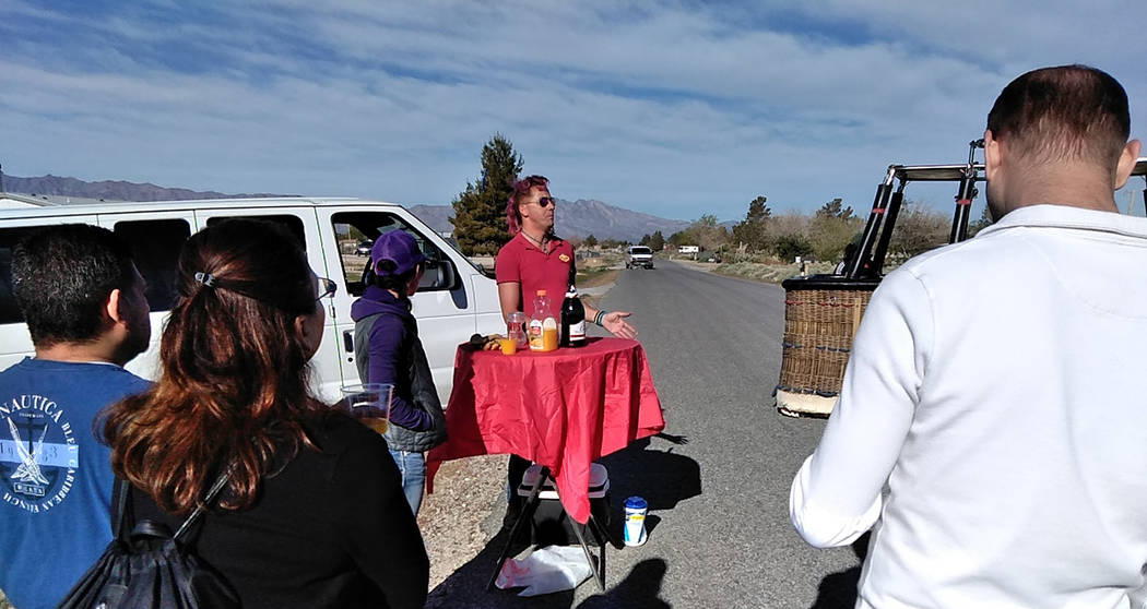 Selwyn Harris/Pahrump Valley Times Jonathan Wright, Lead Pilot of Vegas Balloon Rides talked ab ...