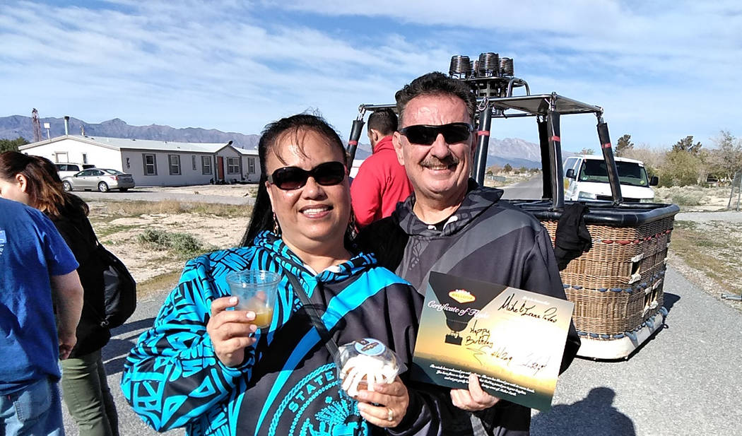 Selwyn Harris/Pahrump Valley Times Passengers Irene and Michael Pavao from Maui, Hawaii, at fir ...
