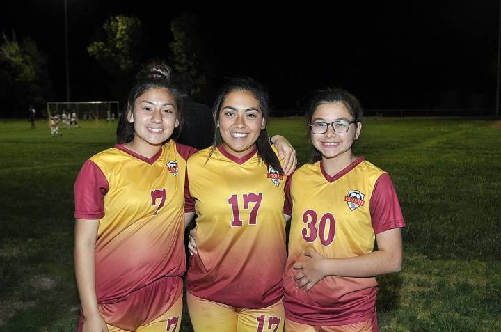 Horace Langford/Pahrump Valley Times Andrea Sauceda, 13, Haven Nelson, 13, and Alexis Martinez, ...