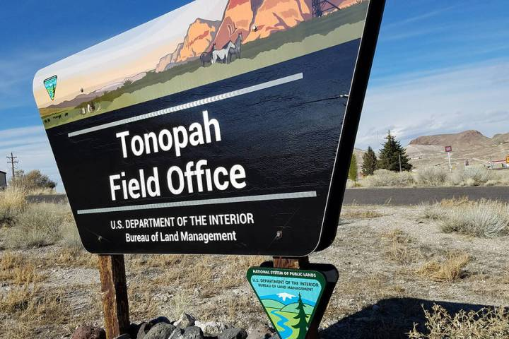 David Jacobs/Pahrump Valley Times The sign is in front of a BLM office in Tonopah, the Nye Cou ...