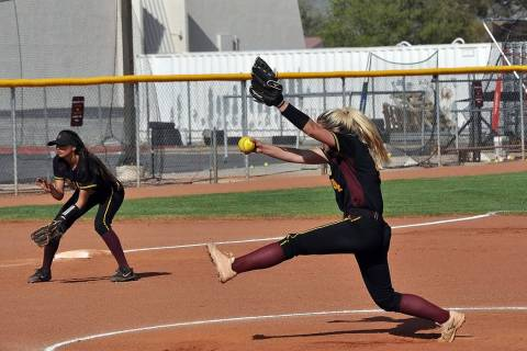 Horace Langford Jr./Pahrump Valley Times Junior Hannah Cuellar delivers during Pahrump Valley's ...