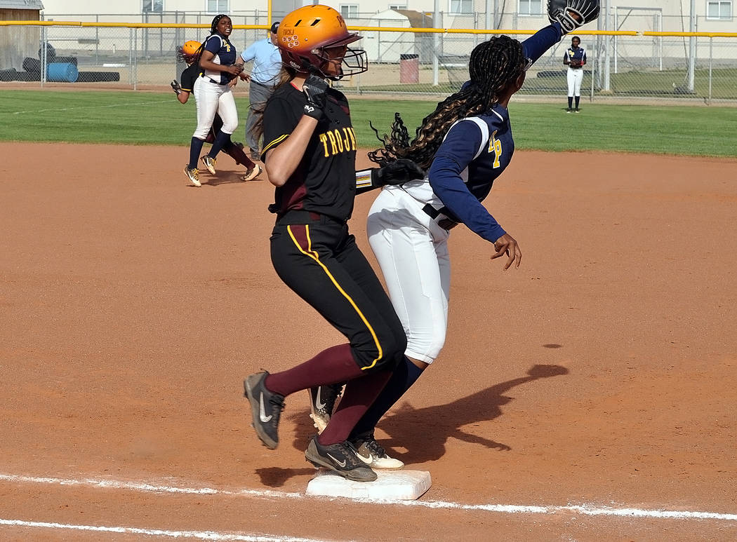 Horace Langford Jr./Pahrump Valley Times Nicky Velazquez beats the throw to first base after an ...