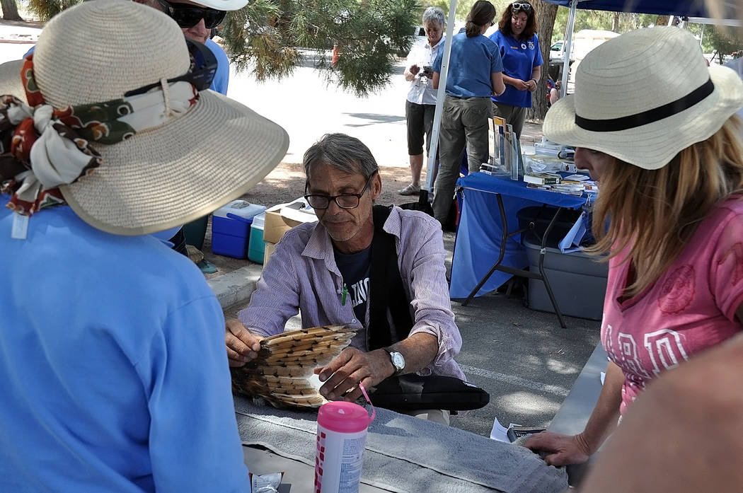 Horace Langford Jr. / Pahrump Valley Times Nature Conservancy member Len Warren explains the m ...