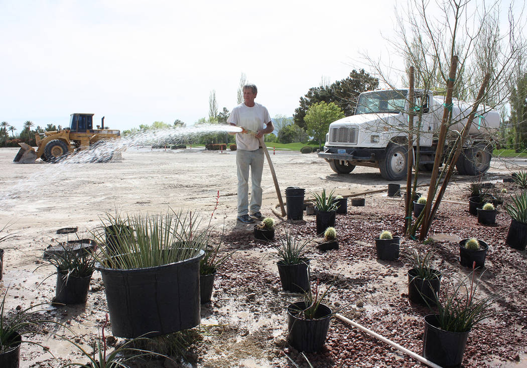 Robin Hebrock/Pahrump Valley Times Landscaping was a part of the construction that took place o ...