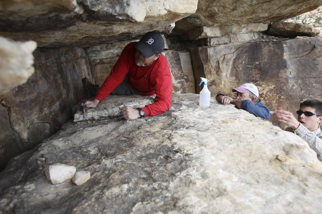 Klaus Cobb, a volunteer with Friends of Red Rock Canyon, left, works Thursday, May 19, 2011, to ...