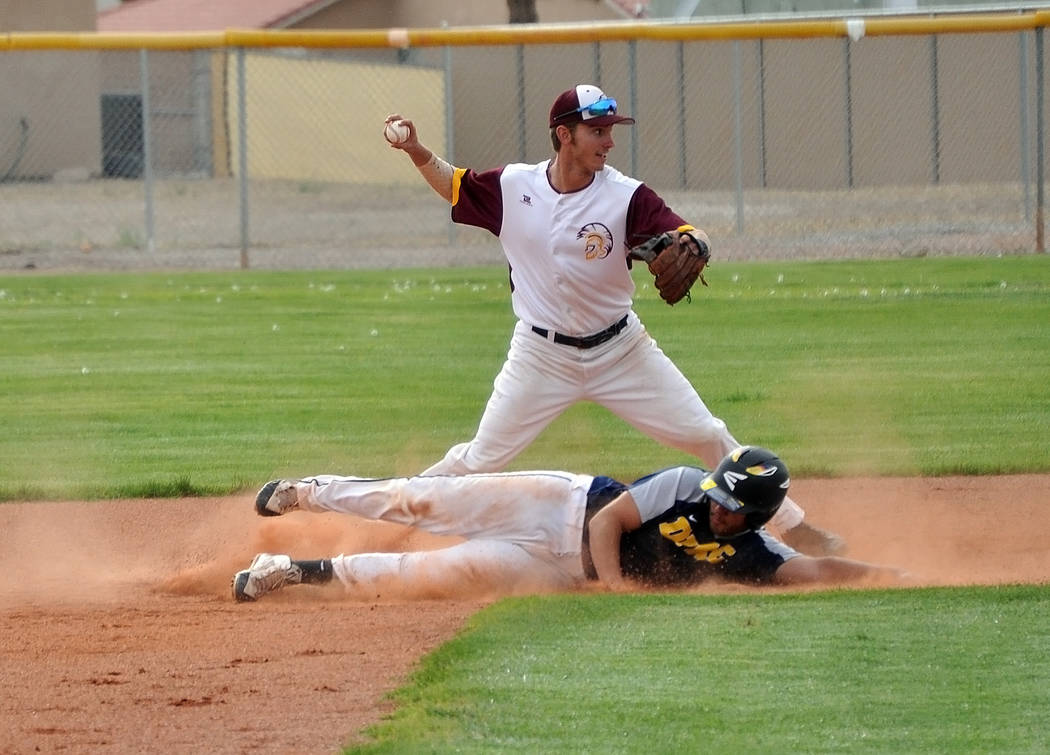 Horace Langford Jr./Pahrump Valley Times Pahrump Valley senior Willie Lucas looks to throw to f ...