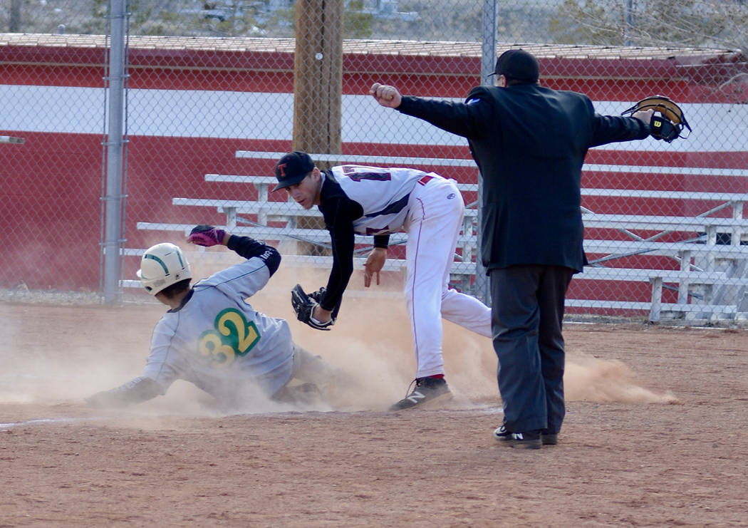 Jo Eason/Special to the Pahrump Valley Times Beatty's Austin McKenzie slides safely into home u ...