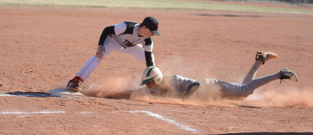 Jo Eason/Special to the Pahrump Valley Times Tonopah's Brayden Tisue tags out a Beatty baserunn ...