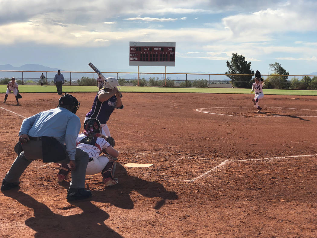 Tom Rysinski/Pahrump Valley Times Junior Hannah Cuellar tossed four shutout innings on 3 hits a ...