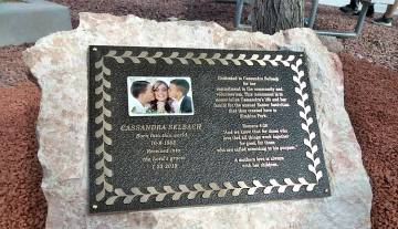 Selwyn Harris/Pahrump Valley Times A bronze plaque with the images of Cassandra Selbach and her ...