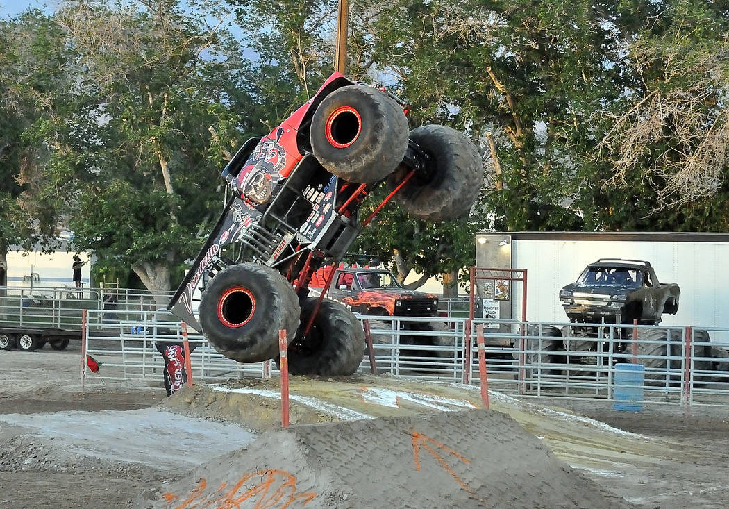 """Horace Langford Jr./Pahrump Valley Times """"Vendetta"""" goes skyward Saturday night during the Mons ..."""