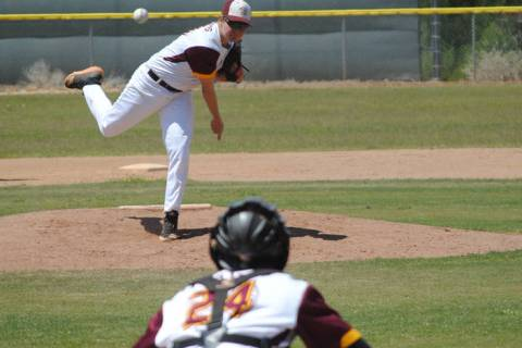 Charlotte Uyeno/Pahrump Valley Times Pahrump Valley pitcher Cyle Havel throws warm-up pitches t ...