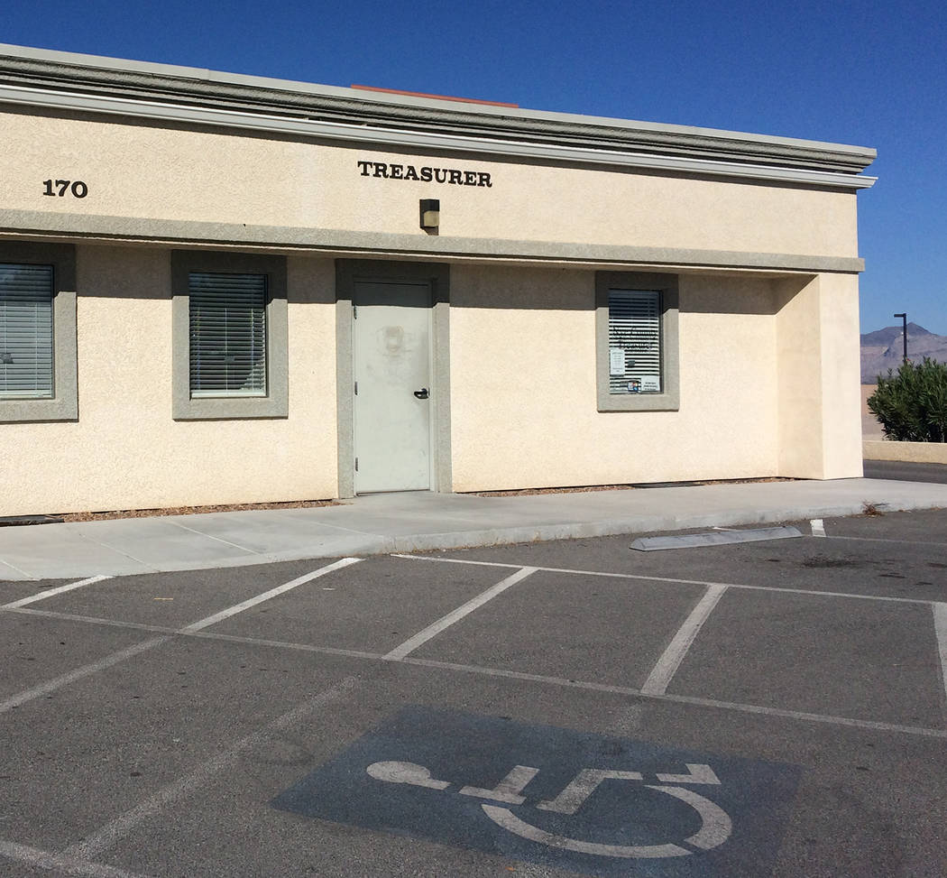 Robin Hebrock/Pahrump Valley Times The Nye County Treasurer's Office in Pahrump is located at 1 ...
