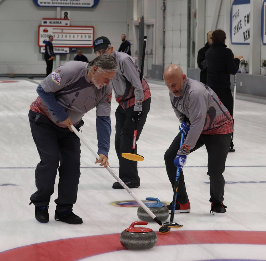 Special to the Pahrump Valley Times Pahrump resident Tom Duryea, left, and Las Vegas Curling C ...