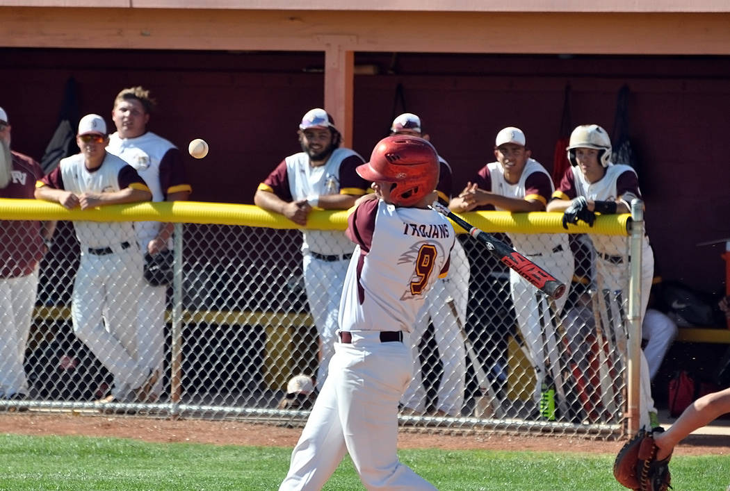 Horace Langford Jr./Pahrump Valley Times Senior Dylan Grossell rips a bases-loaded triple durin ...