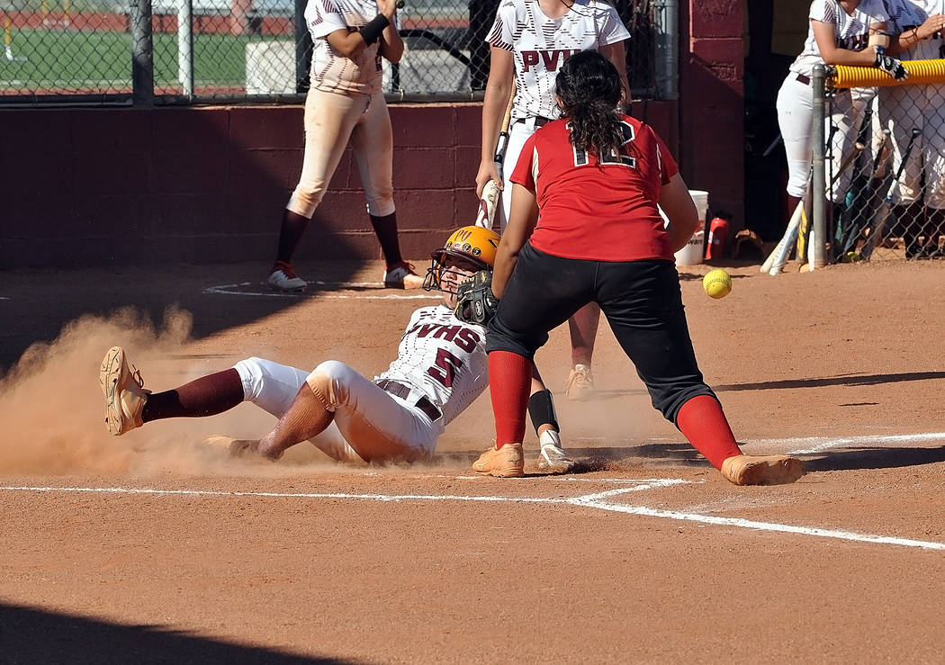 Horace Langford Jr./Pahrump Valley Times Pahrump Valley's Hailey Cuellar slides safely into hom ...