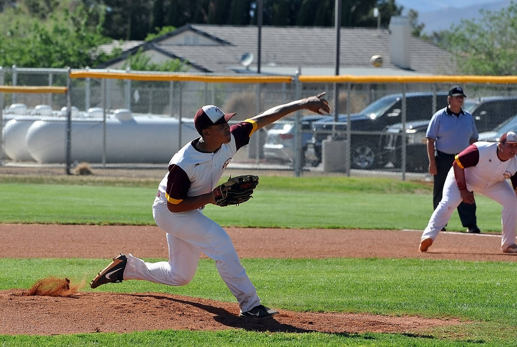Horace Langford Jr./Pahrump Valley Times Jalen Denton tossed a 5-inning no hitter with 6 strike ...
