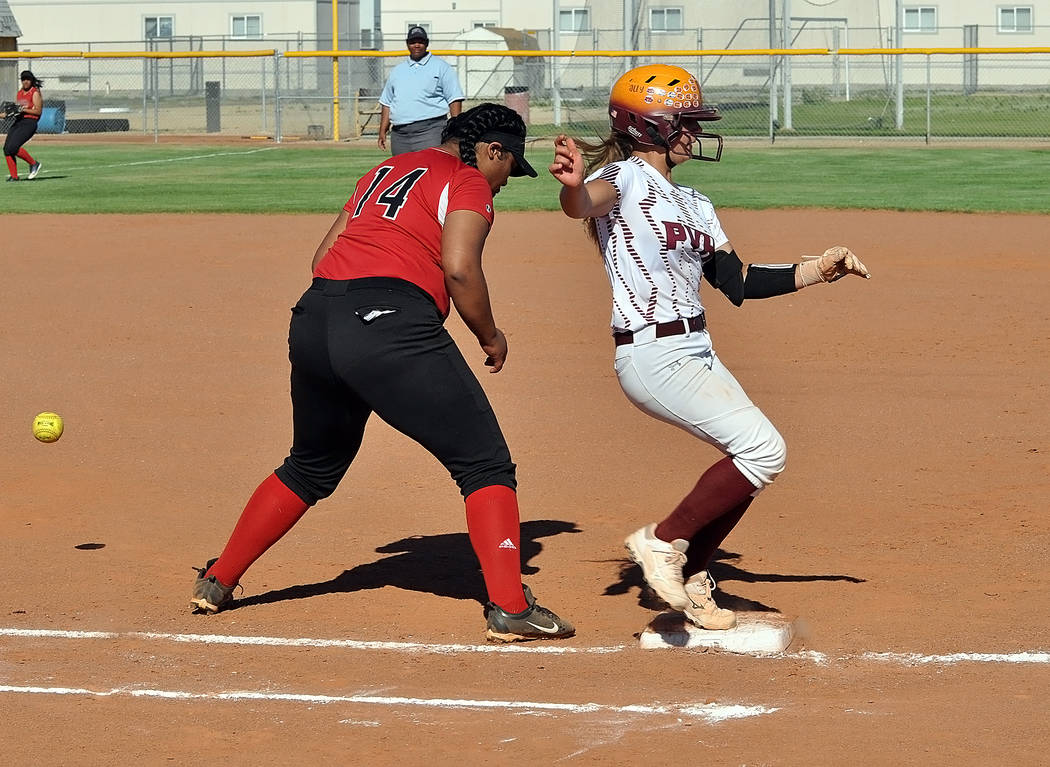 Horace Langford Jr./Pahrump Valley Times Natalie Waugh-Magana of Pahrump Valley reached first b ...