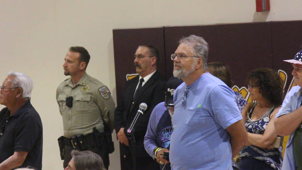 Jeffrey Meehan/Pahrump Valley Times Several people were lined up to ask questions at Valley Ele ...