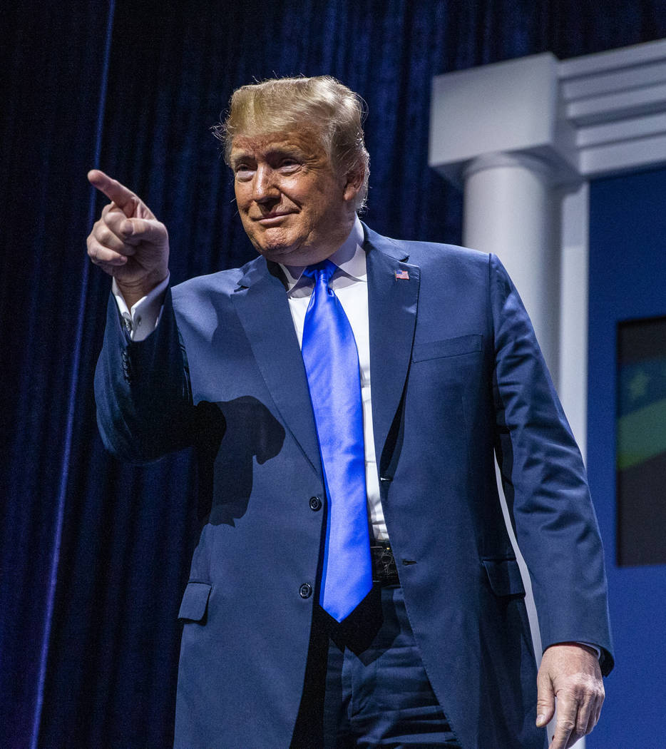 President Donald J. Trump greets the Republican Jewish Coalition during the RJC's annual leader ...