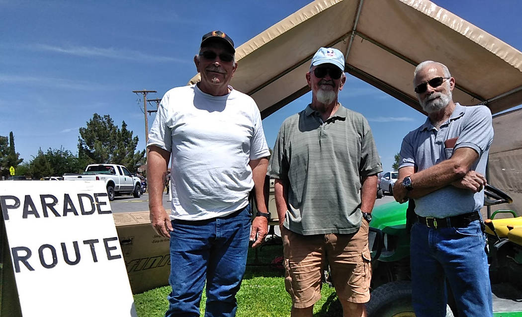 Selwyn Harris/Pahrump Valley Times Amargosa Days organizer Mike Cottingim, center, is joined by ...