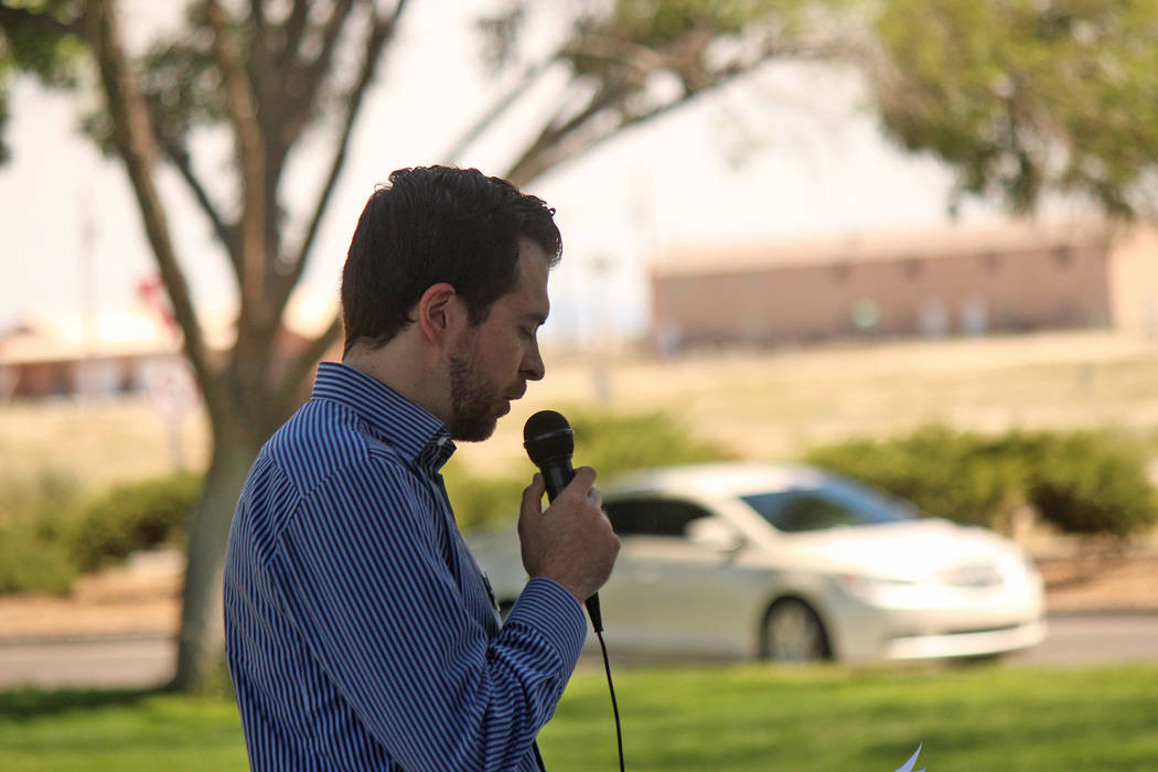 Jeffrey Meehan/Pahrump Valley Times Richard Martin, Nathan Adelson Hospice chaplain, speaks du ...