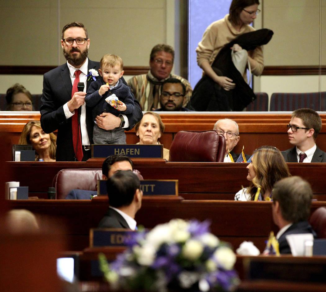K.M. Cannon/Las Vegas Review-Journal Assemblyman Gregory Hafen, R-Pahrump, introduces his famil ...