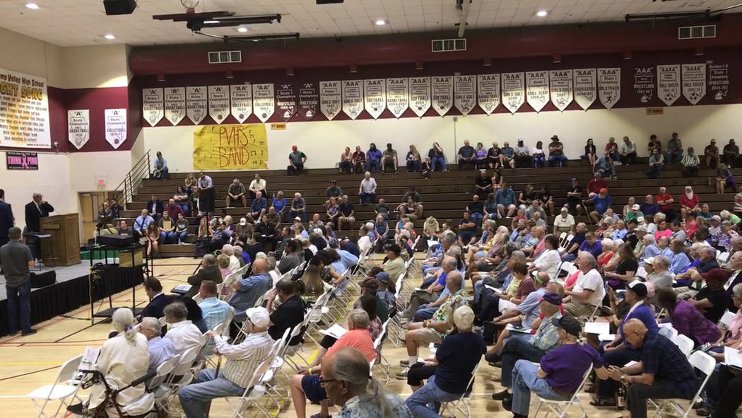 Jeffrey Meehan/Pahrump Valley Times Hundreds pack the gymnasium at Pahrump Valley High School i ...
