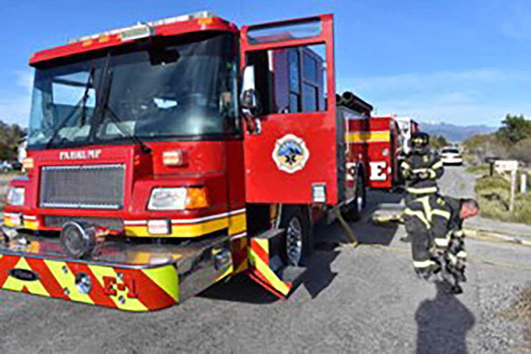 Special to the Pahrump Valley Times Pahrump fire crews responded to a structure fire along the ...