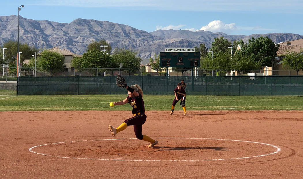 Tom Rysinski/Pahrump Valley Times Pahrump Valley junior Hannah Cuellar delivers a second-inning ...
