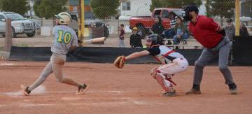 Jo Eason/Special to the Pahrump Valley Times Beatty leadoff hitter Fabian Perez bats against To ...
