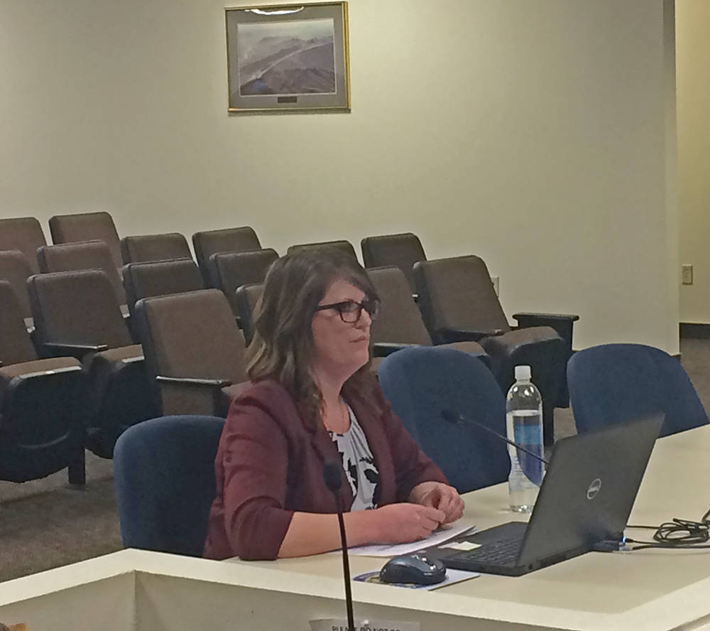 Robin Hebrock/Pahrump Valley Times Nye County Comptroller Savannah Rucker presented the county' ...