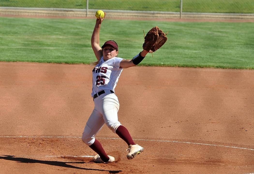 Horace Langford Jr./Pahrump Valley Times Natalie Waugh-Magana pitches during Pahrump Valley's ...