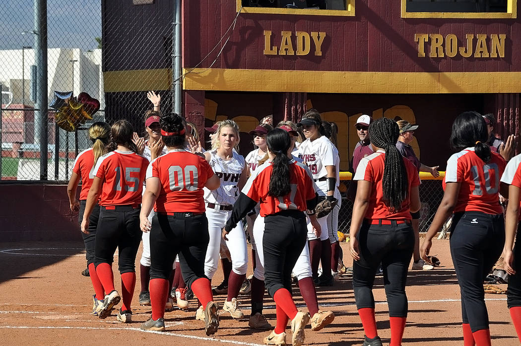 Horace Langford Jr./Pahrump Valley Times The Pahrump Valley and Western softball teams after th ...